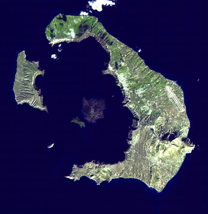 Δορυφορική εικόνα της Σαντορίνης